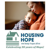 Housing Hope logo, mother and child