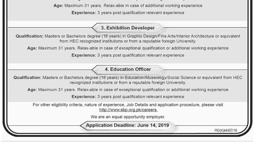 sbp jobs june 2019
