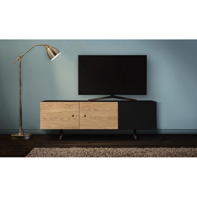 meuble tv 3 portes jugend 150cm chene noir
