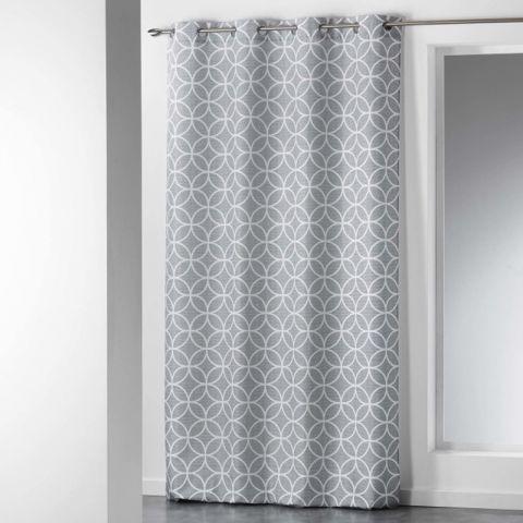 rideau imprime dario 140x260cm gris blanc
