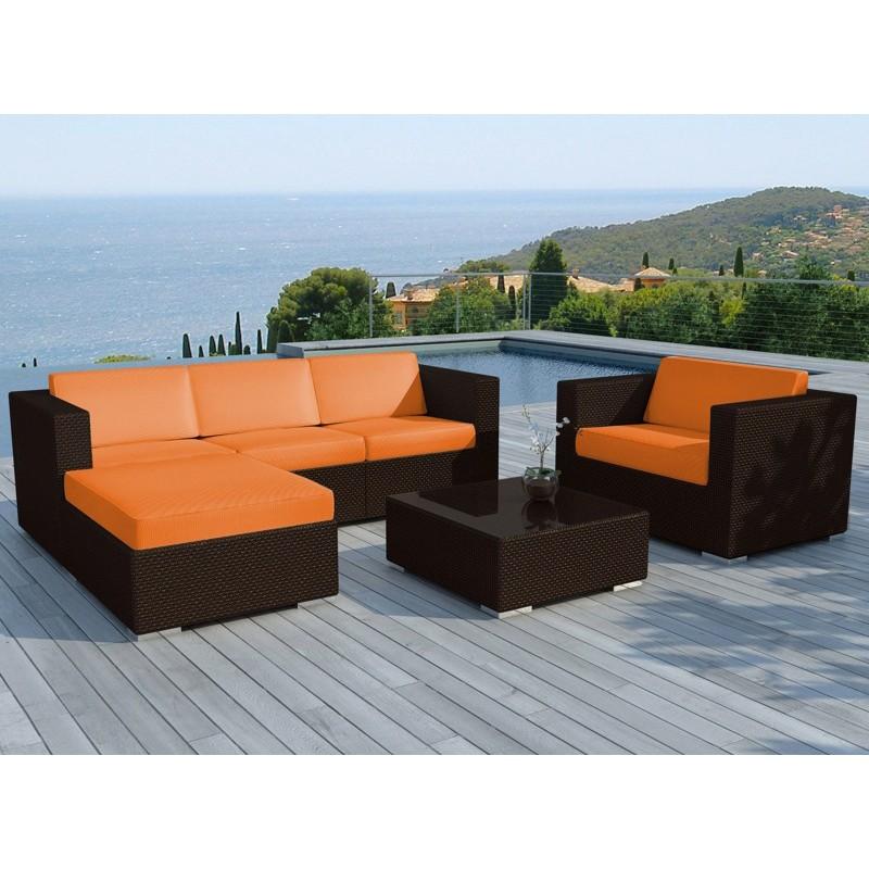 salon de jardin en resine valentino orange marron