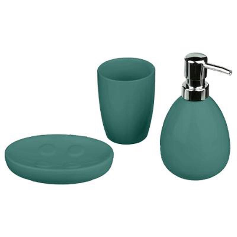 set de 3 accessoires salle de bain sun vert emeraude