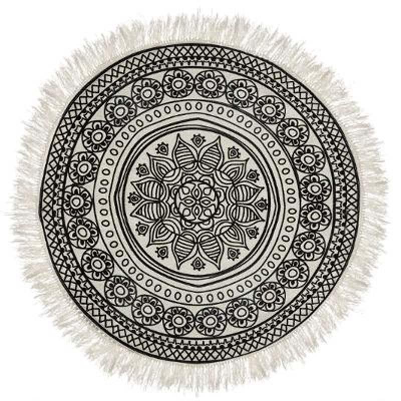 tapis rond a motifs mandala 90cm noir blanc