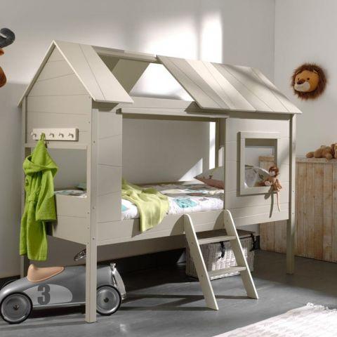 lit cabane enfant charlotte 90x200cm beige