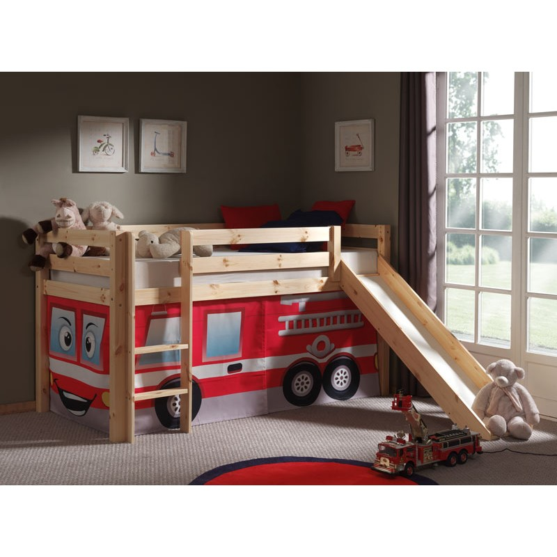 lit enfant avec toboggan pino pompier naturel