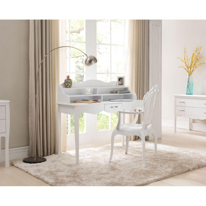 bureau secretaire vintage maryline 119cm blanc