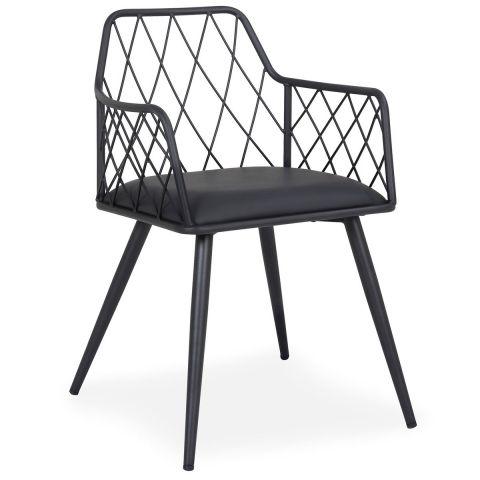 chaise design en metal simili wolf 77cm noir