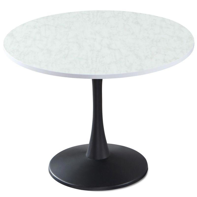 table de repas ronde effet marbre nancy 100cm blanc