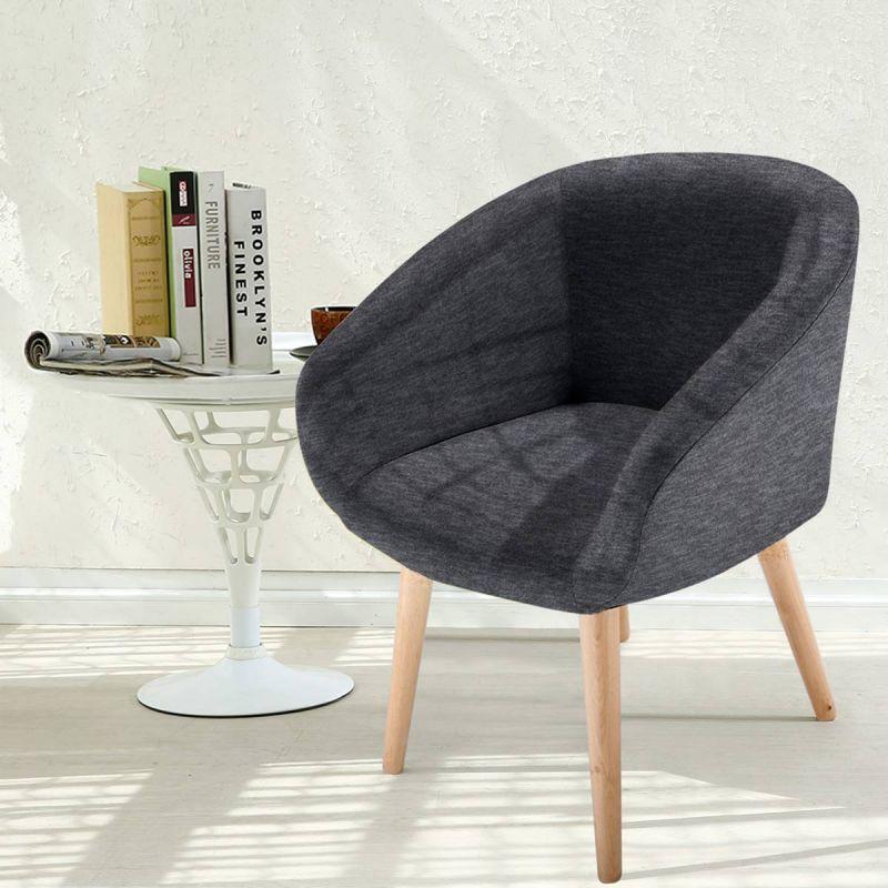 fauteuil scandinave en tissu twiny 76cm gris fonce