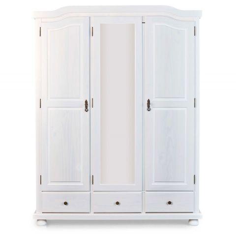 armoire 3 portes 3 tiroirs bois izi 198cm blanc