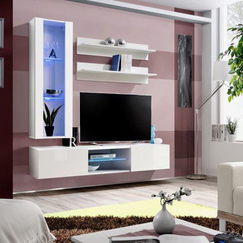 meuble tv mural design fly xix 170cm blanc