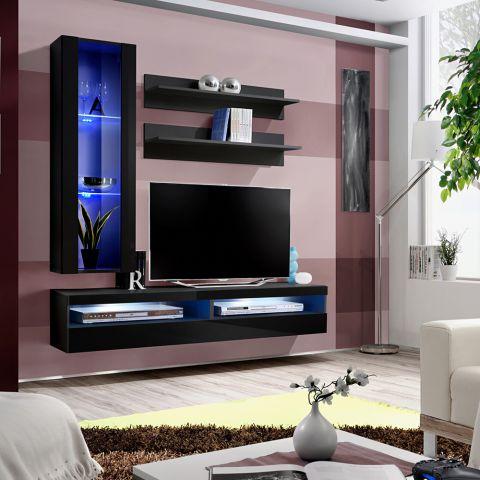 meuble tv mural design fly xxv 160cm noir