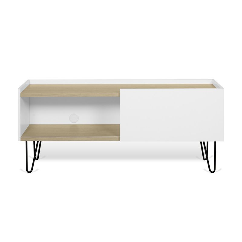 temahome meuble tv nina 140cm chene clair blanc