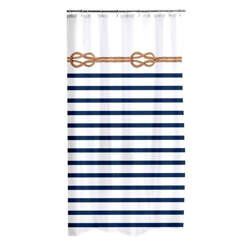 rideau de douche imprime marine 180x200cm blanc