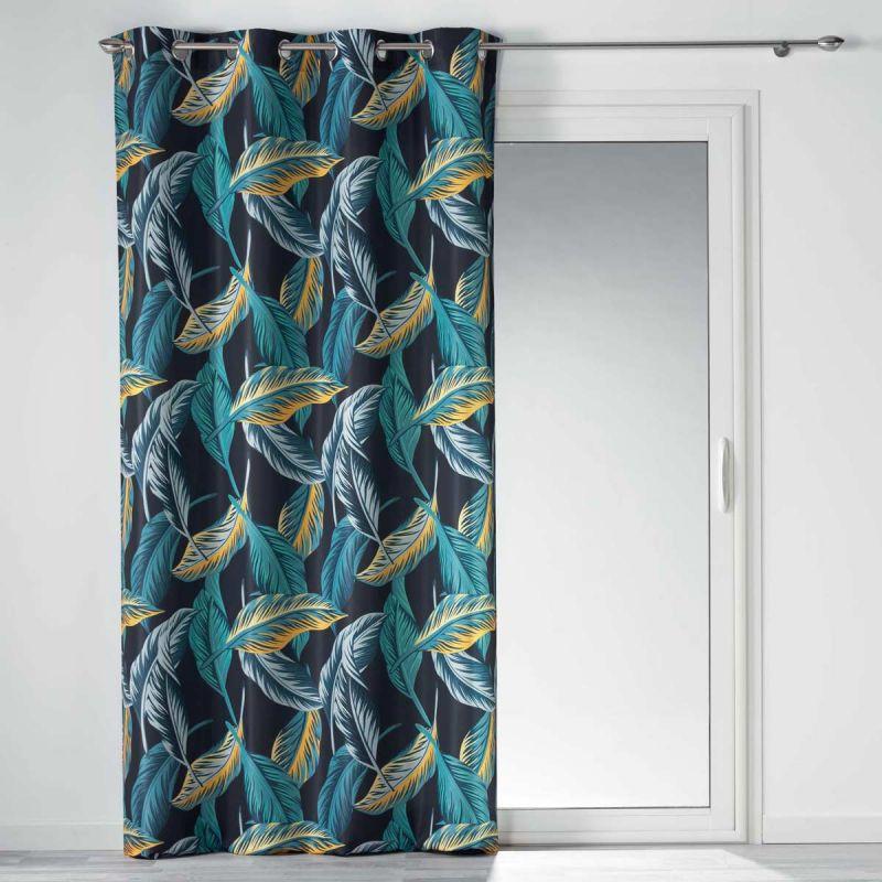 rideau a oeillets jungola 140x260cm bleu