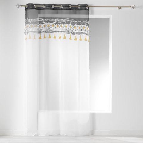 rideau voilage a œillets talismania 140x240cm blanc