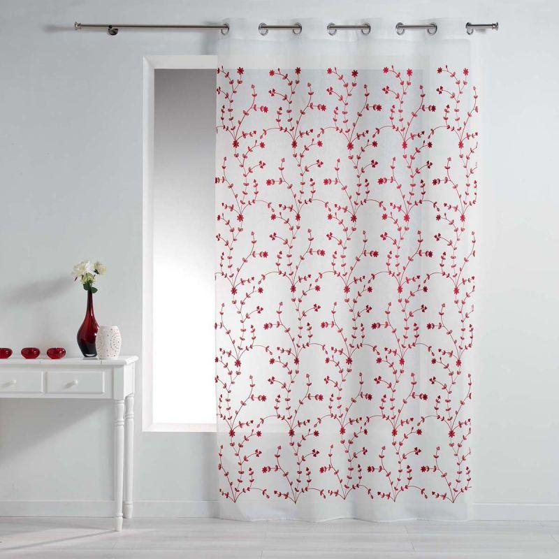 rideau voilage a œillets petite fleur 140x240cm blanc rouge