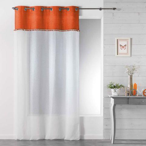 rideau voilage a œillets alixia 140x240cm orange