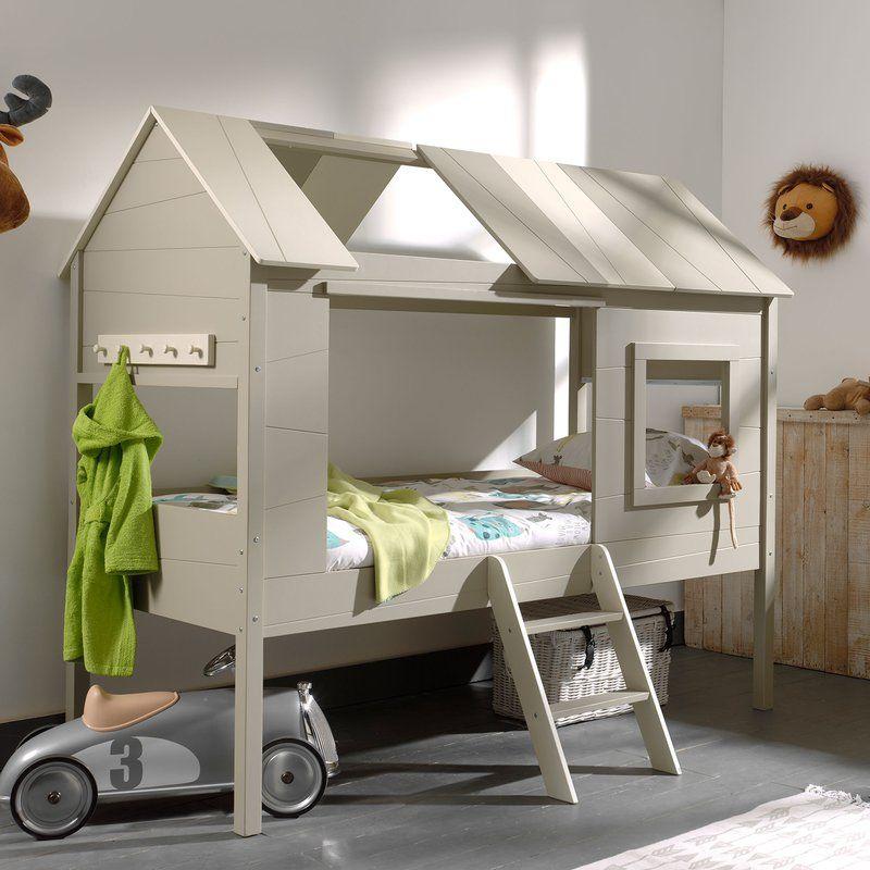 lit enfant cabane rideaux charlotte 90x200cm beige