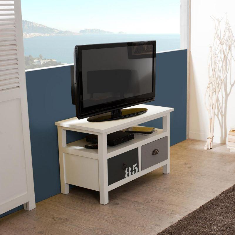 meuble tv 2 tiroirs en bois elon 80cm naturel