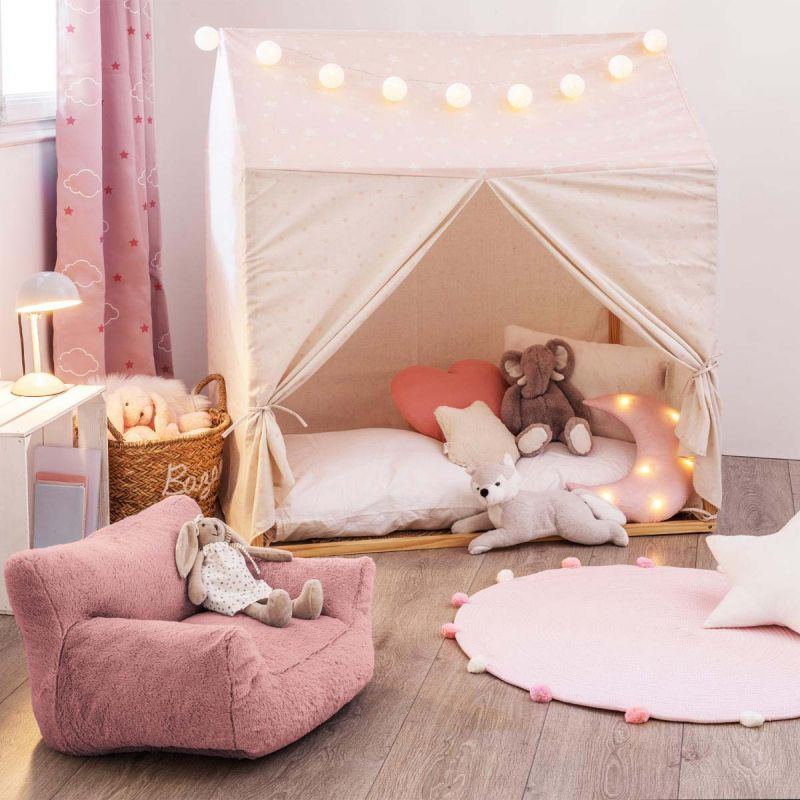 toile pour lit cabane enfant hut 116x126cm rose