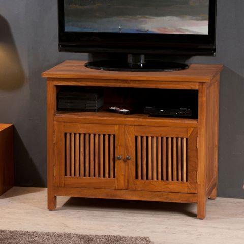 meuble tv 2 portes teck makenko 80cm naturel