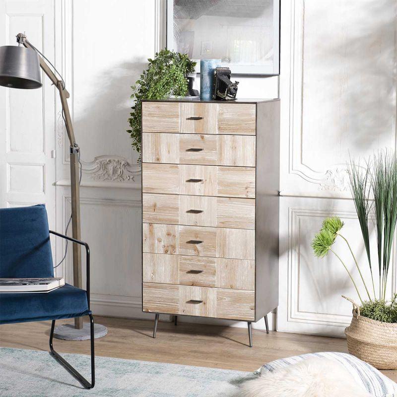 chiffonnier design 7 tiroirs rapa 120cm naturel