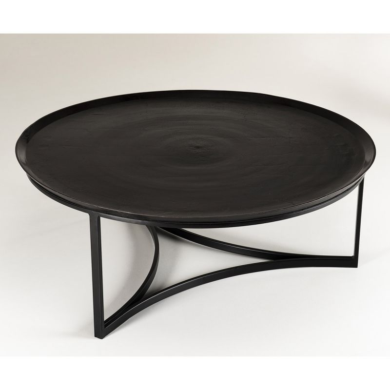 table basse ronde en metal trax 99cm noir