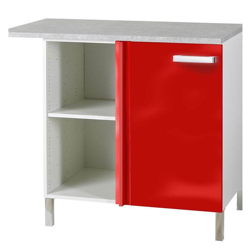 meuble bas d angle glossy rouge