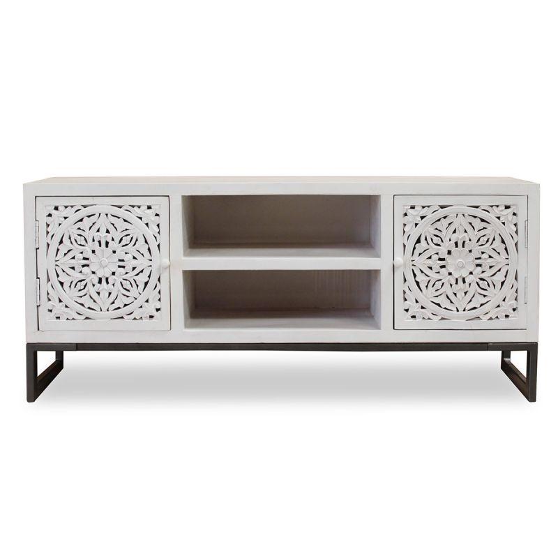 meuble tv 2 portes design ena 130cm blanc