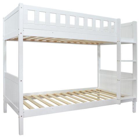 lit superpose enfant bois arios 90x190cm blanc