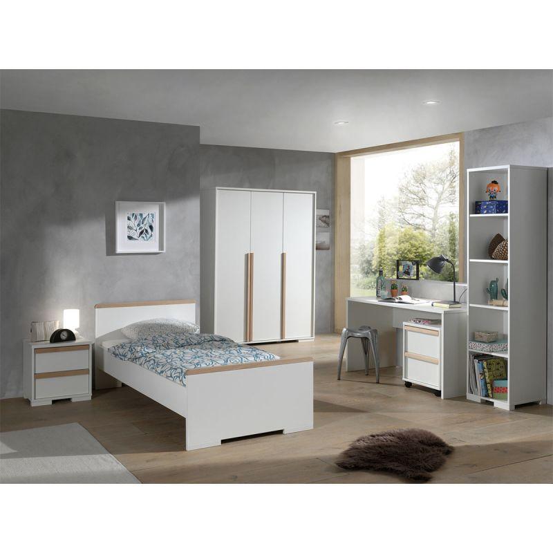 chambre complete enfant 6p london blanc
