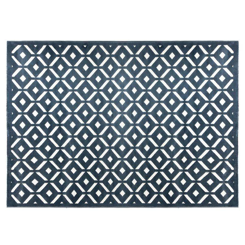 tapis de salon relief losange 160x230cm bleu
