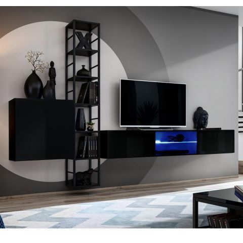 ensemble meuble tv design switch vi 270cm noir