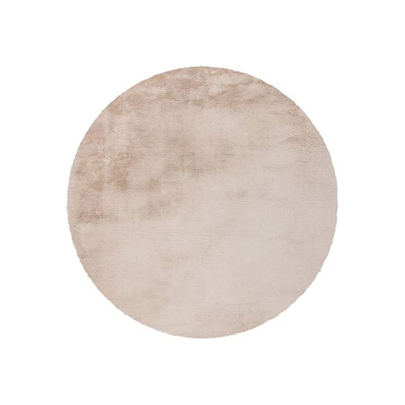 tapis rond a poils longs rabbit 160cm beige