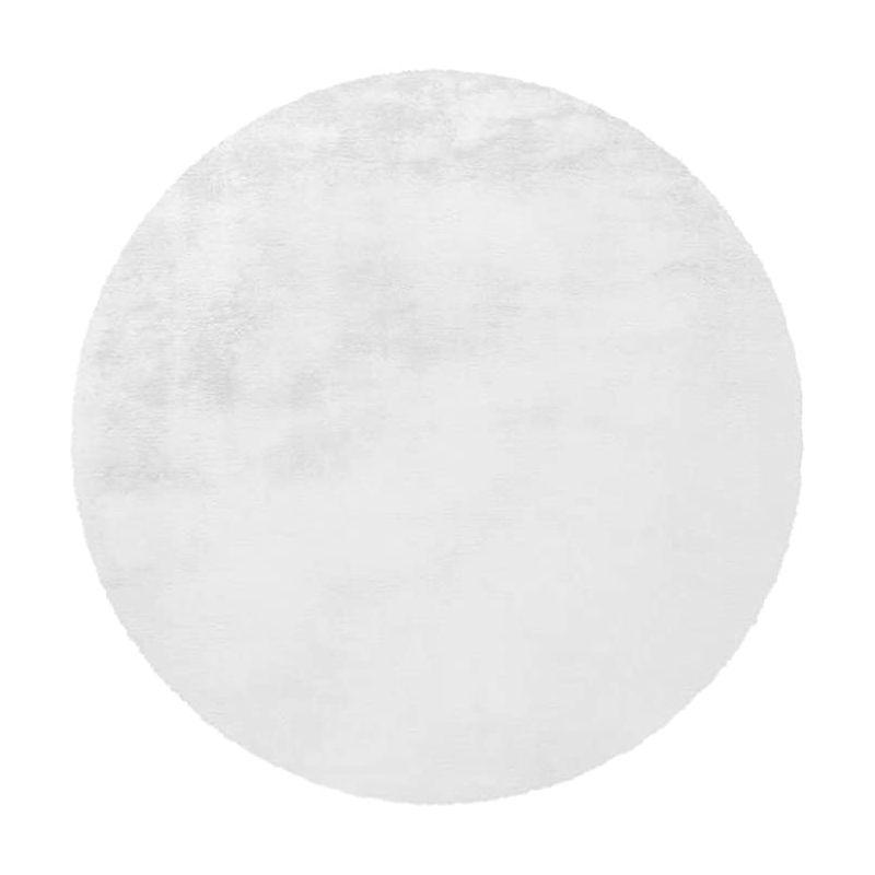 tapis rond a poils longs rabbit 160cm blanc
