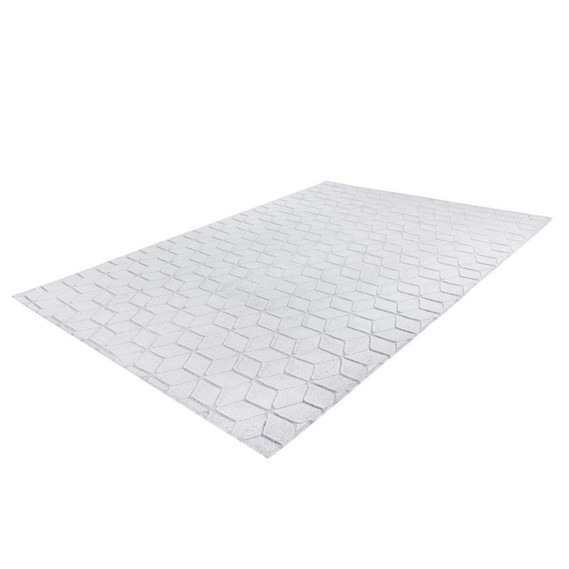 tapis shaggy effet 3d vivica blanc bleu gris