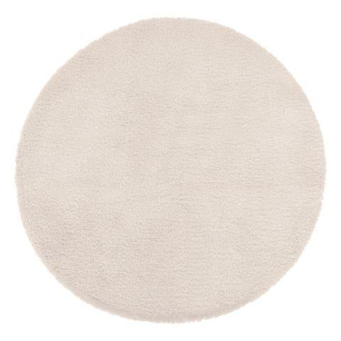 tapis rond imitation fourrure doucea 80cm ivoire