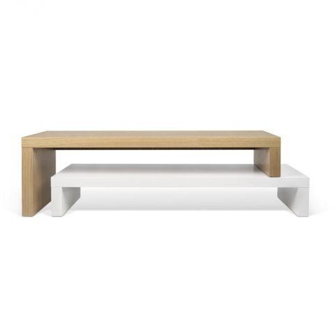 temahome meuble tv cliff 120cm blanc mat chene