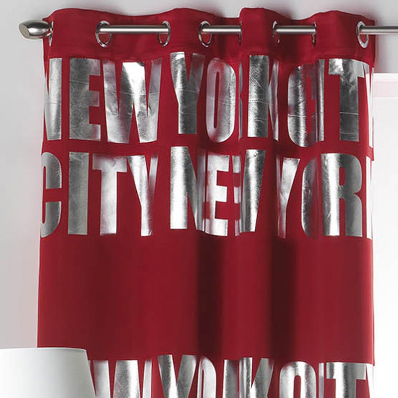 rideau occultant new york silver 140x260cm rouge