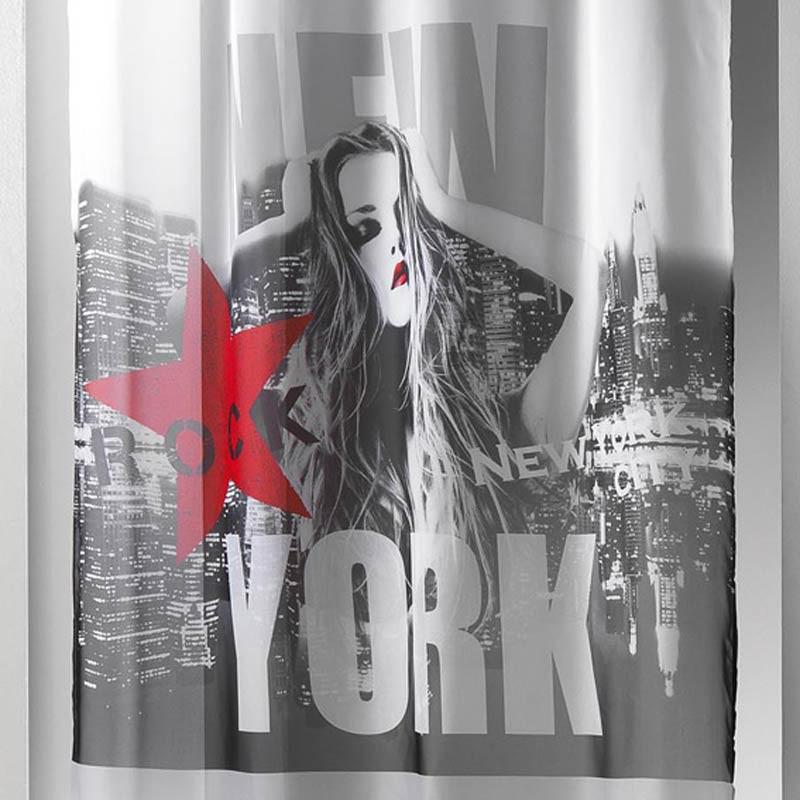 rideau voilage diva 140x260cm blanc rouge