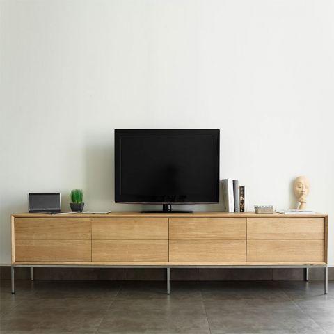 meuble tv 2 tiroirs 2 portes kubico chene massif