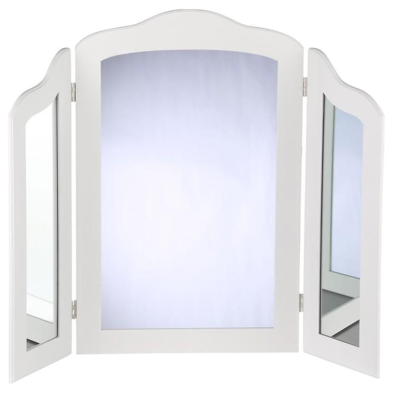 miroir a poser 3 panneaux 70cm blanc