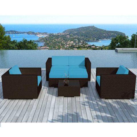 salon de jardin en resine tressee portofino turquoise marron