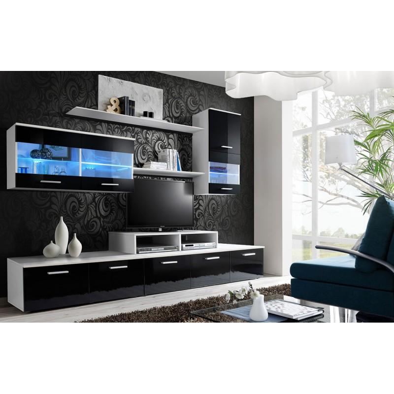 meuble tv mural design logo 250cm noir blanc