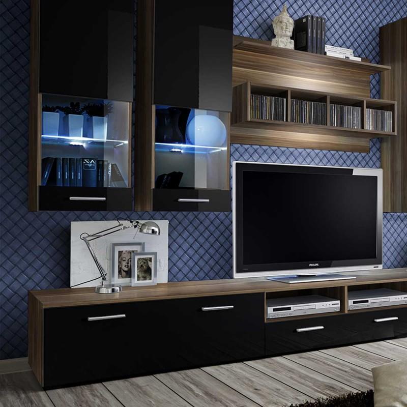 meuble tv mural design dorade 300cm noir prunier