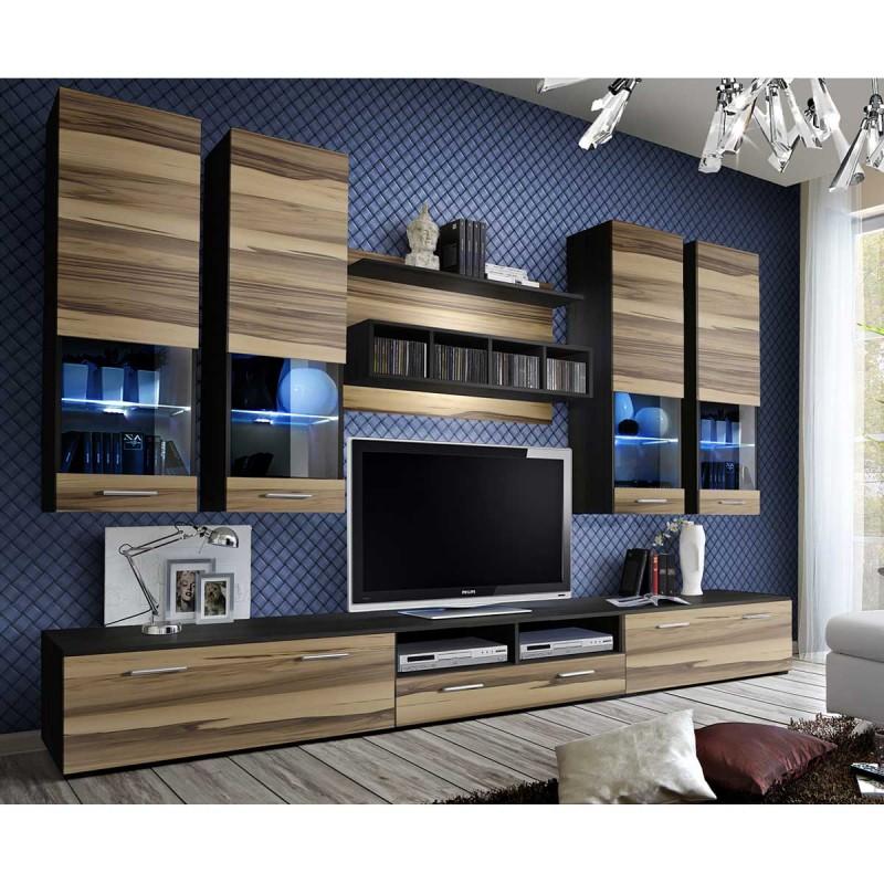 meuble tv mural design dorade 300cm noyer wenge