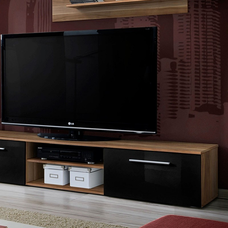 ensemble meuble tv bibliotheque galino i wood 250cm prunier noir