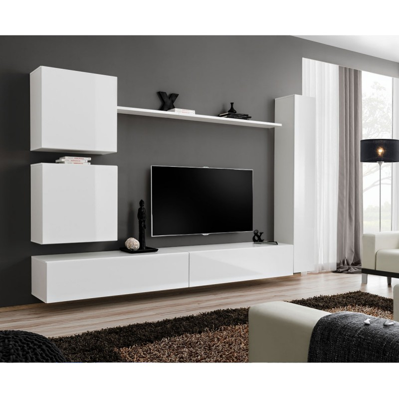 Meuble TV Mural Design Switch VIII 280cm Blanc