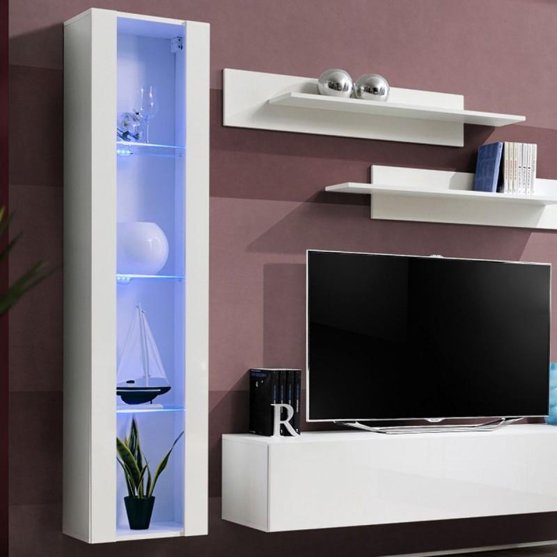 meuble tv mural design fly ii 210cm blanc